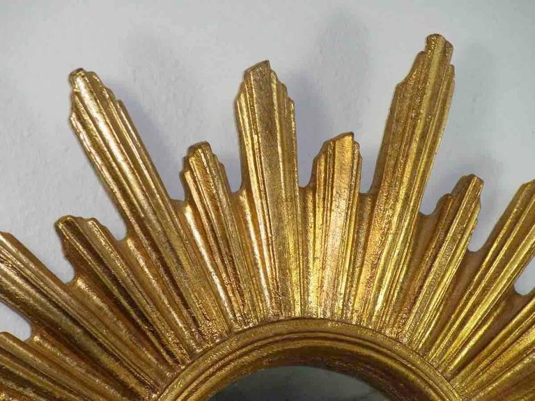 Hollywood Regency Sunburst Starburst Gilded Resin Mirror, France For Sale