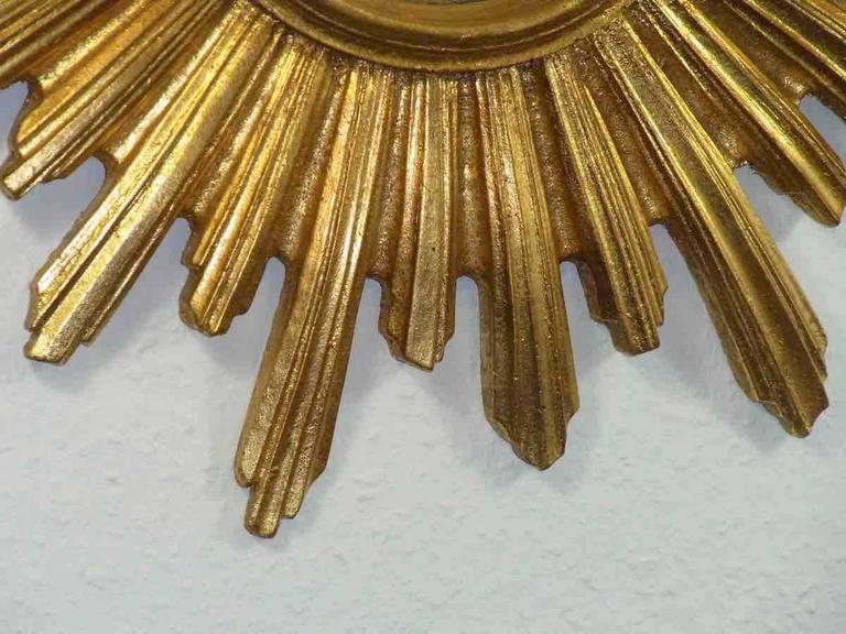 French Sunburst Starburst Gilded Resin Mirror, France For Sale