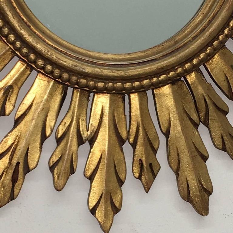 French Beautiful Sunburst Gilded Wood Mirror Vintage, France For Sale