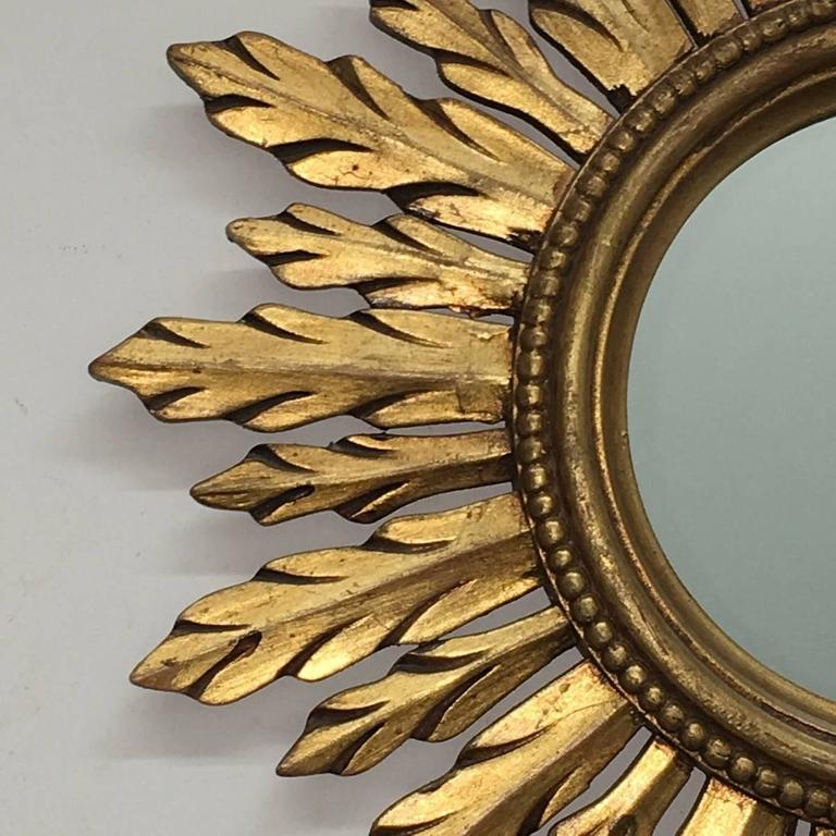 Hollywood Regency Beautiful Sunburst Gilded Wood Mirror Vintage, France For Sale