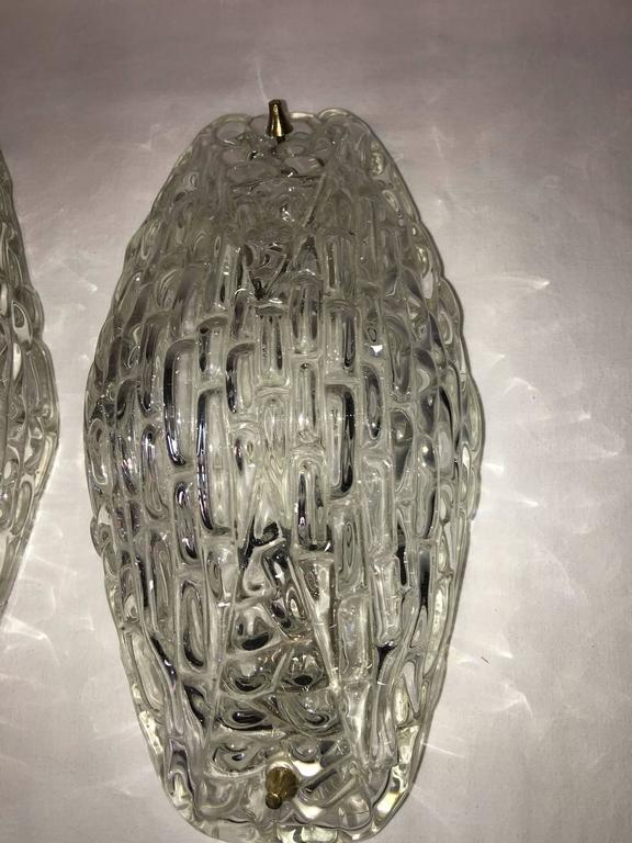 Mid-20th Century Pair of 1960s Textured Glass Sconces For Sale