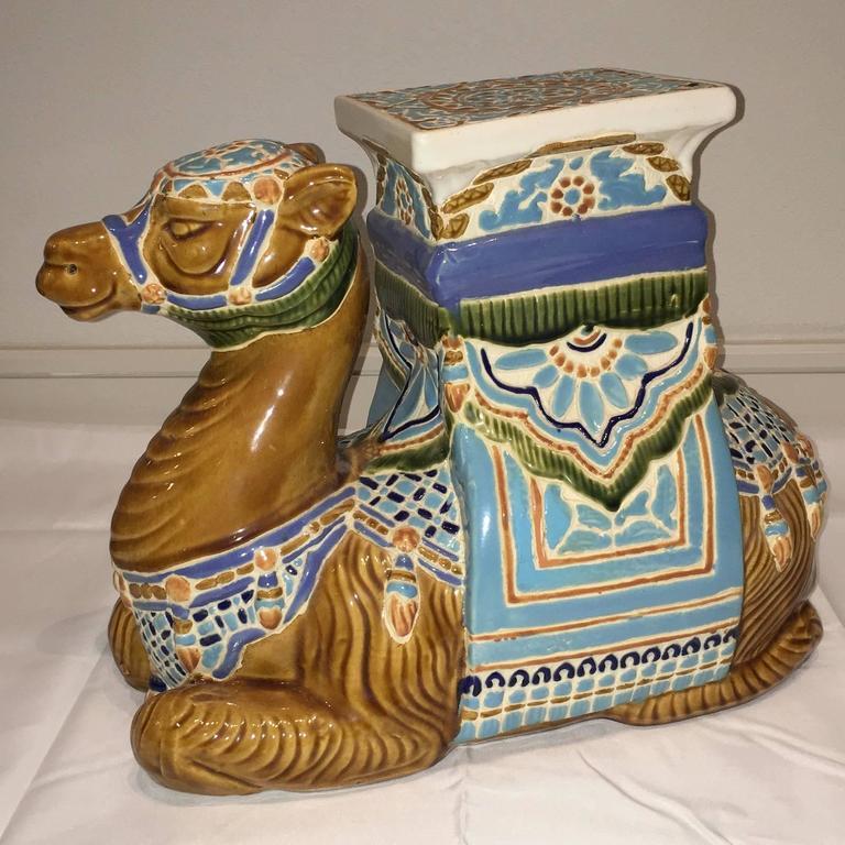 Mid 20th Century Glazed Ceramic Camel Garden Stool, Flower Pot Seat Or Side  Table