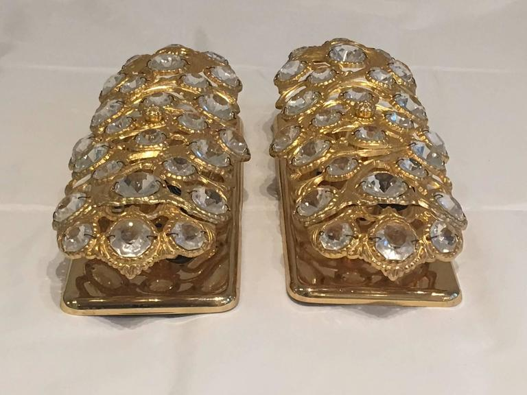 Brass Italian Pair Gilt with Crystal Elements Sconces Wall Lights For Sale