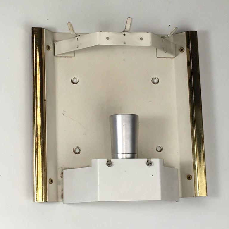 Pair of Brass and Ice Glass Wall Sconces by Doria Leuchten, Germany For Sale 1