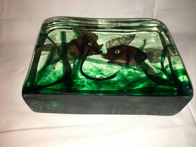 Large Murano Glass Aquarium Two Fish in Gino Cenedese Style For Sale 1