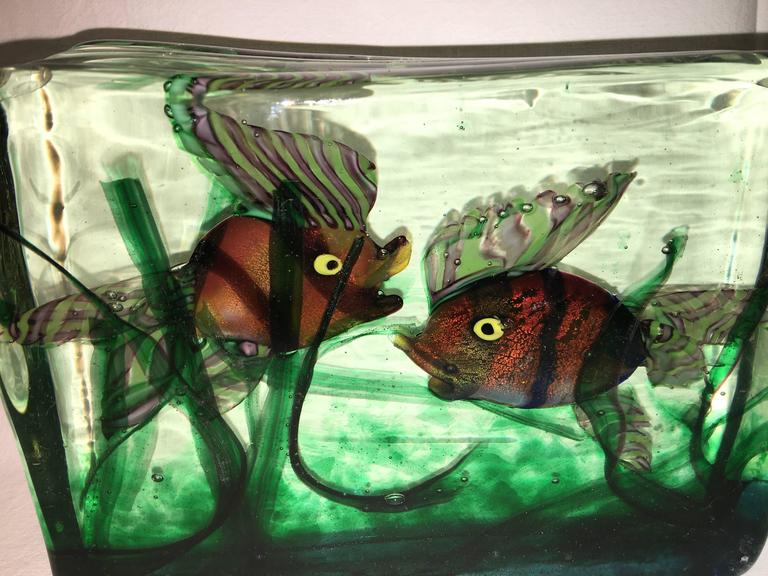 Italian Large Murano Glass Aquarium Two Fish in Gino Cenedese Style For Sale