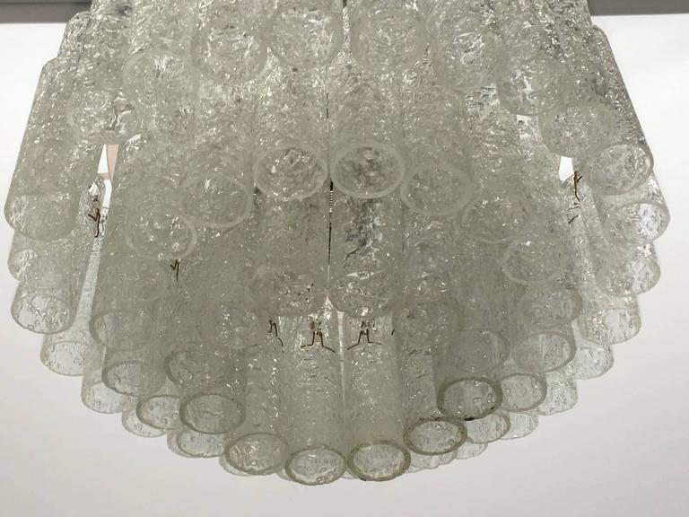 Mid-20th Century Doria Leuchten Glass Tube Three-Tier Flush Mount For Sale