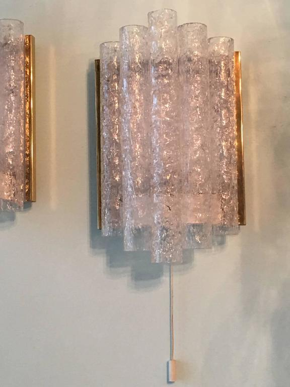 Metal Pair of Brass Ice Glass Wall Sconces by Doria, Germany For Sale