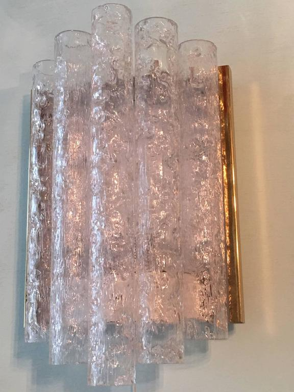 Pair of Brass Ice Glass Wall Sconces by Doria, Germany In Good Condition For Sale In Frisco, TX