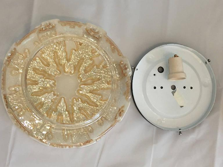 Metal Pair of German 1970s Ice Crystal Glass Flush Mount For Sale