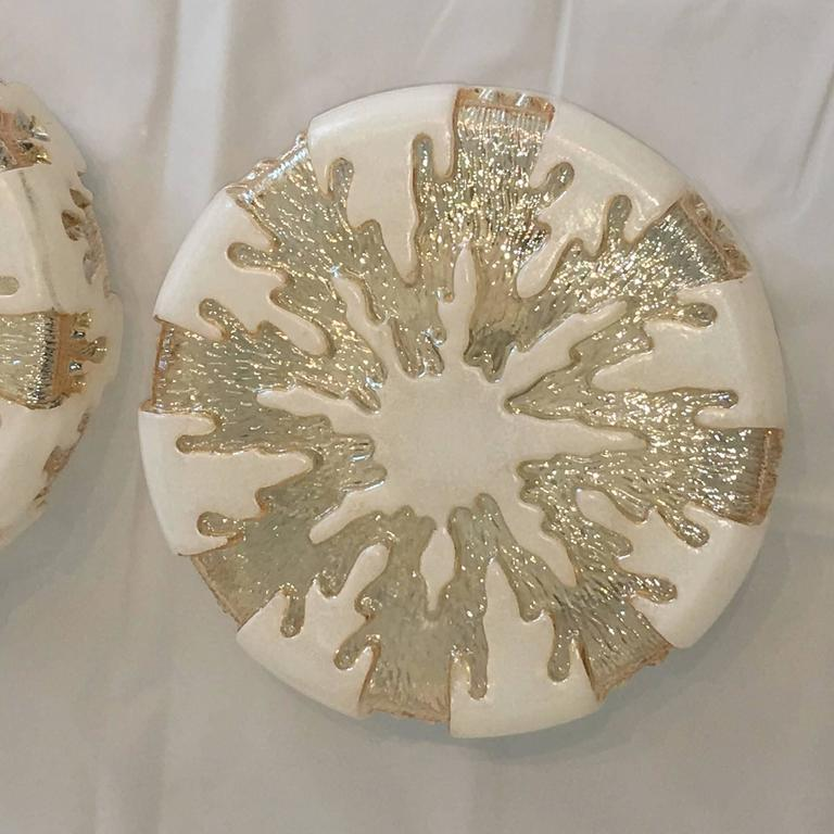 Late 20th Century Pair of German 1970s Ice Crystal Glass Flush Mount For Sale