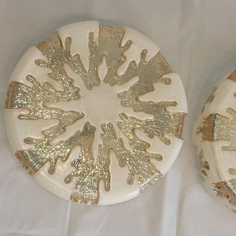 Pair of German 1970s Ice Crystal Glass Flush Mount In Good Condition For Sale In Frisco, TX