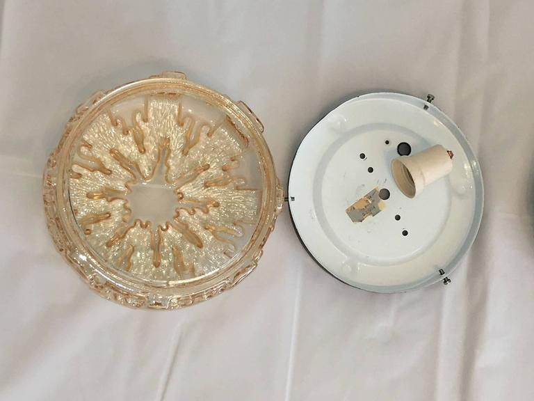 Metal Pair of Small German 1970s Ice Crystal Glass Flush Mount For Sale