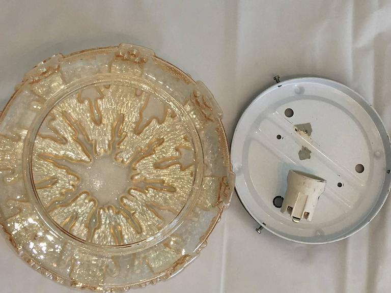 Late 20th Century German 1970s Ice Crystal Glass Flush Mount For Sale