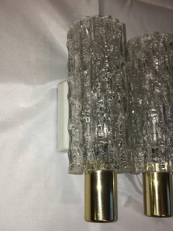 Pair of German Doria Glass Tube Sconces In Good Condition For Sale In Frisco, TX