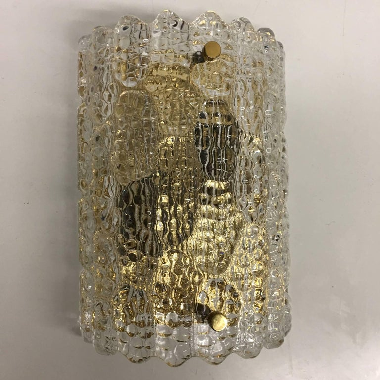 Mid-20th Century Three Carl Fagerlund for Orrefors Glass Wall Sconces For Sale