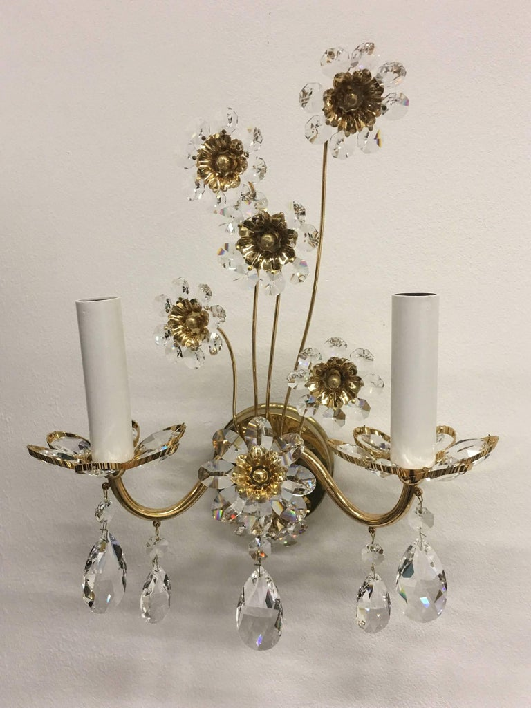 "Hollywood Regency Pair of Vintage Gold-Plated ""Palwa"" Crystal Flower Sconces For Sale"