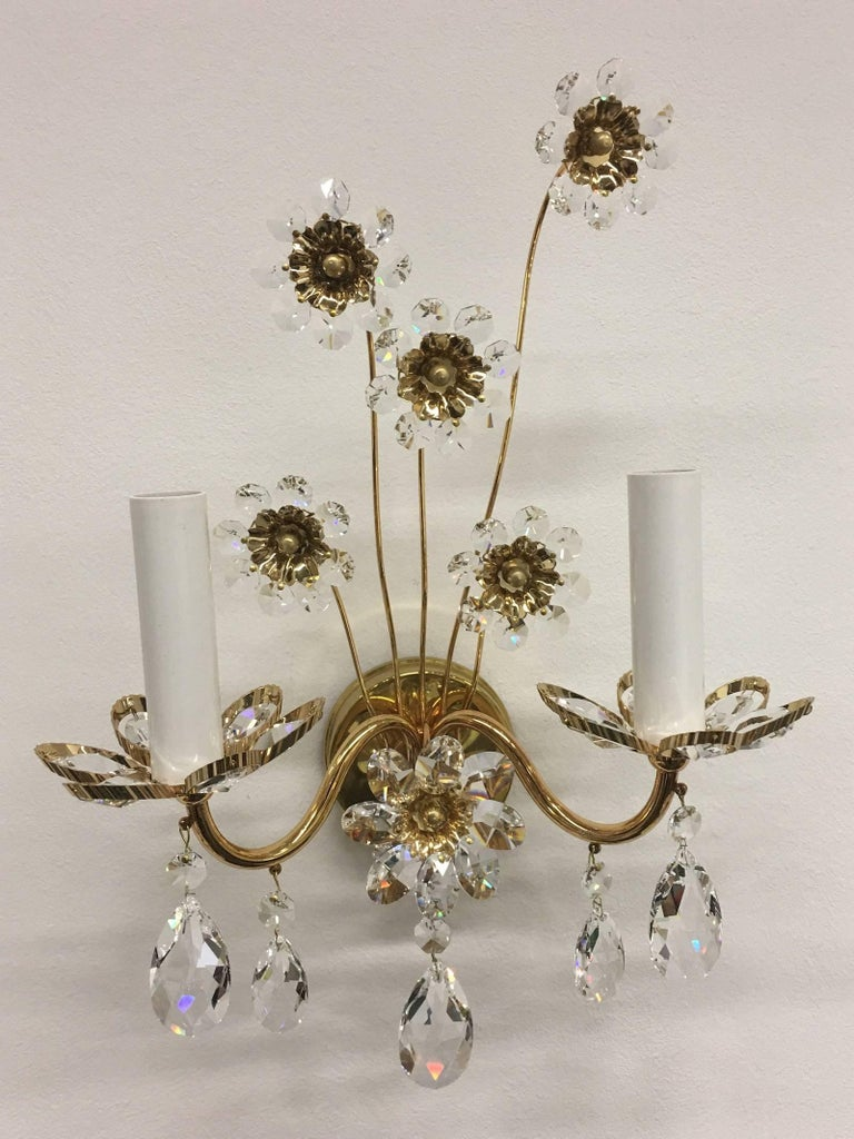 "German Pair of Vintage Gold-Plated ""Palwa"" Crystal Flower Sconces For Sale"
