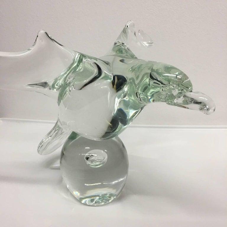 Italian Licio Zanetti Exquisite Signed Murano Handblown Glass Dove Sculpture 70's Italy For Sale