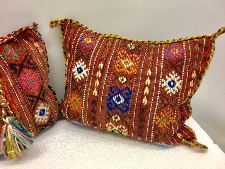 Pair of Gypsy Turkish Oriental Salt Bag or Rug Embroidery Pillows In Good Condition For Sale In Dallas, TX