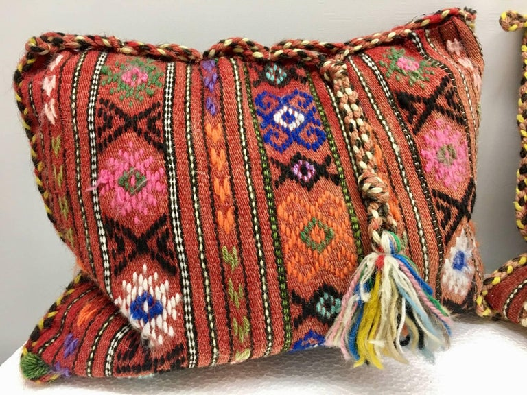 Mid-20th Century Pair of Gypsy Turkish Oriental Salt Bag or Rug Embroidery Pillows For Sale