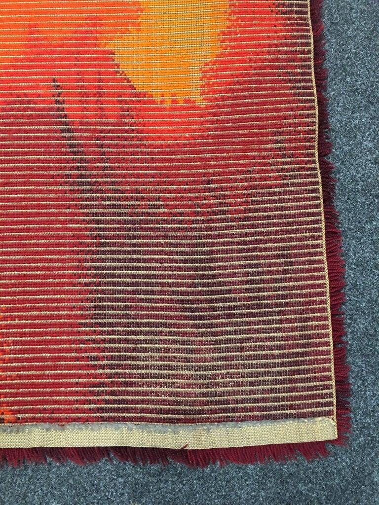 Vintage Mid Century Modern Red Orange Rya Rug For Sale At