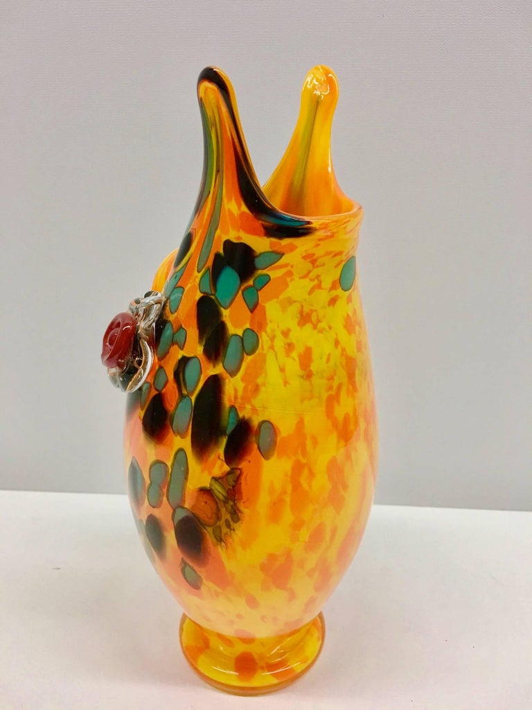 Late 20th Century Large Murano Swirl Art Glass Owl Vase 1970s Style For Sale