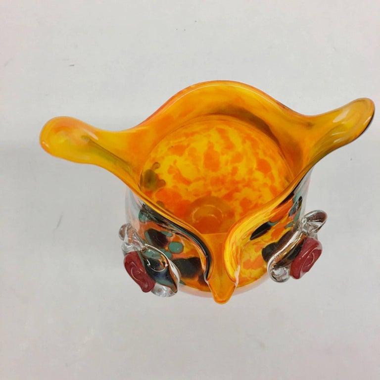 Murano Glass Large Murano Swirl Art Glass Owl Vase 1970s Style For Sale