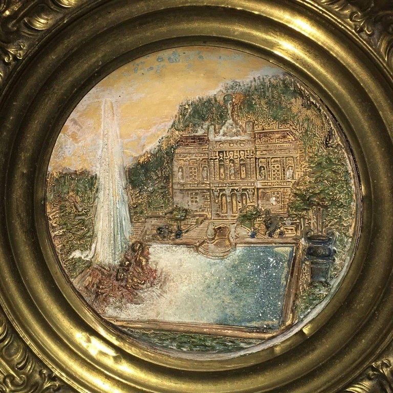 19th Century Faience and Brass Framed Castle Linderhof Wall Plaque - Germany In Good Condition For Sale In Frisco, TX