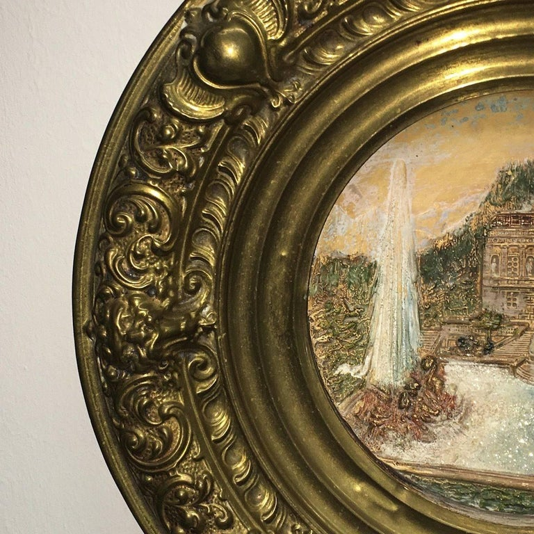 Late 19th Century 19th Century Faience and Brass Framed Castle Linderhof Wall Plaque - Germany For Sale