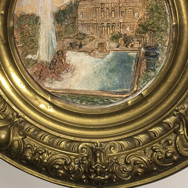 19th Century Faience and Brass Framed Castle Linderhof Wall Plaque - Germany For Sale 1