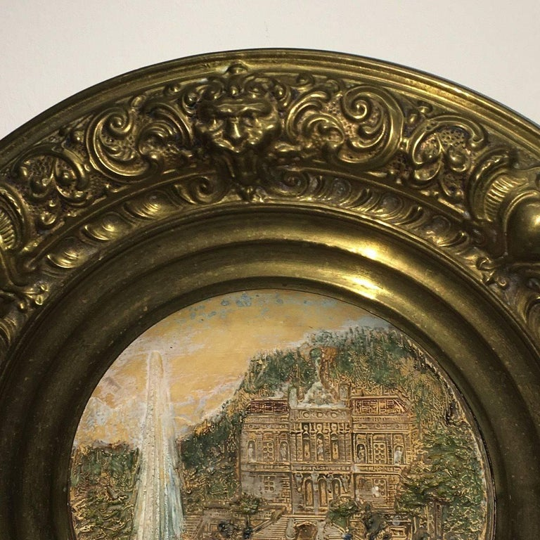 19th Century Faience and Brass Framed Castle Linderhof Wall Plaque - Germany For Sale 2
