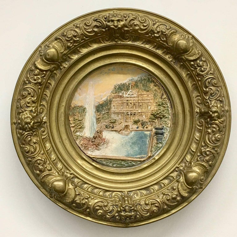 19th Century Faience and Brass Framed Castle Linderhof Wall Plaque - Germany For Sale 4