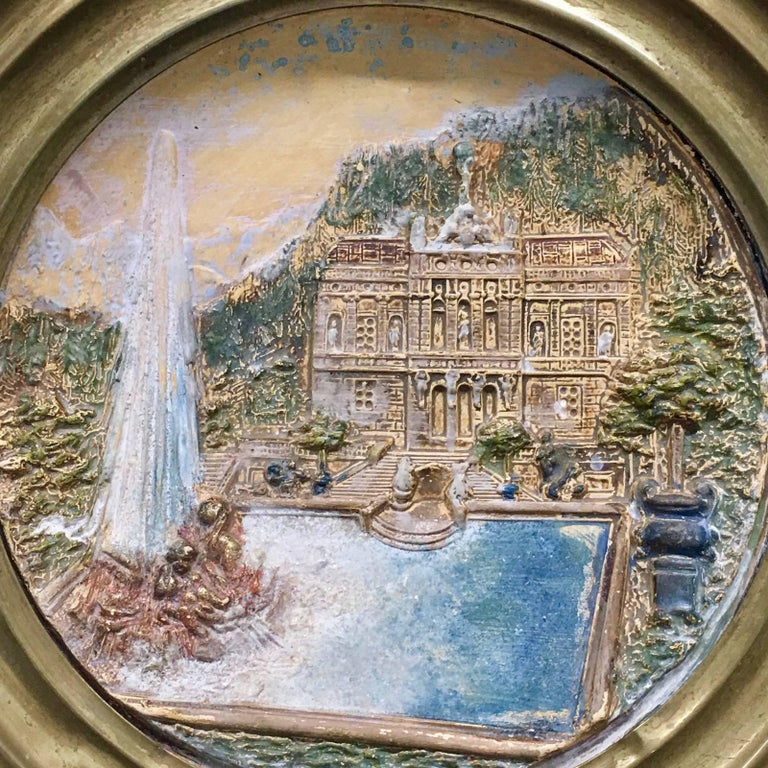 19th Century Faience and Brass Framed Castle Linderhof Wall Plaque - Germany For Sale 5