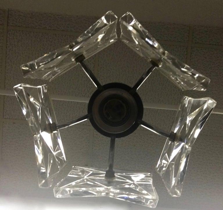 Glass Pair of Crystal and Chrome Kinkeldey Pendants For Sale