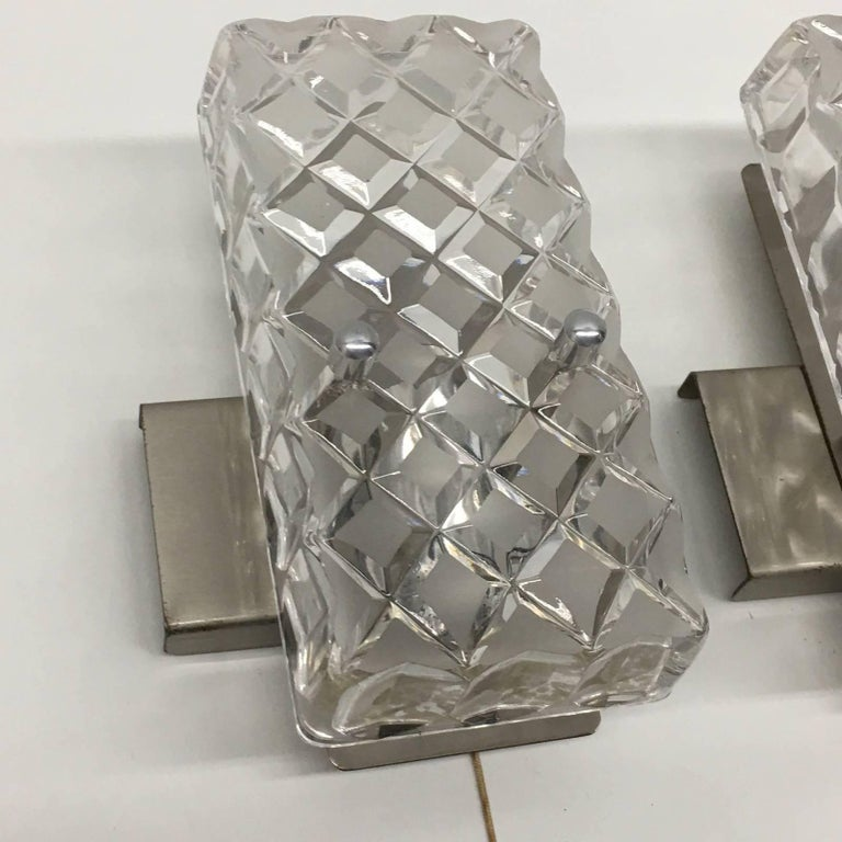 German Pair of Rectangular Glass Sconces with Chrome Fixture For Sale