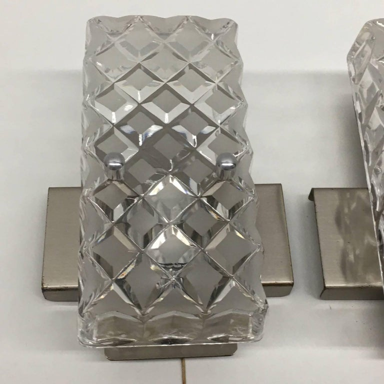 Pair of Rectangular Glass Sconces with Chrome Fixture In Good Condition For Sale In Frisco, TX