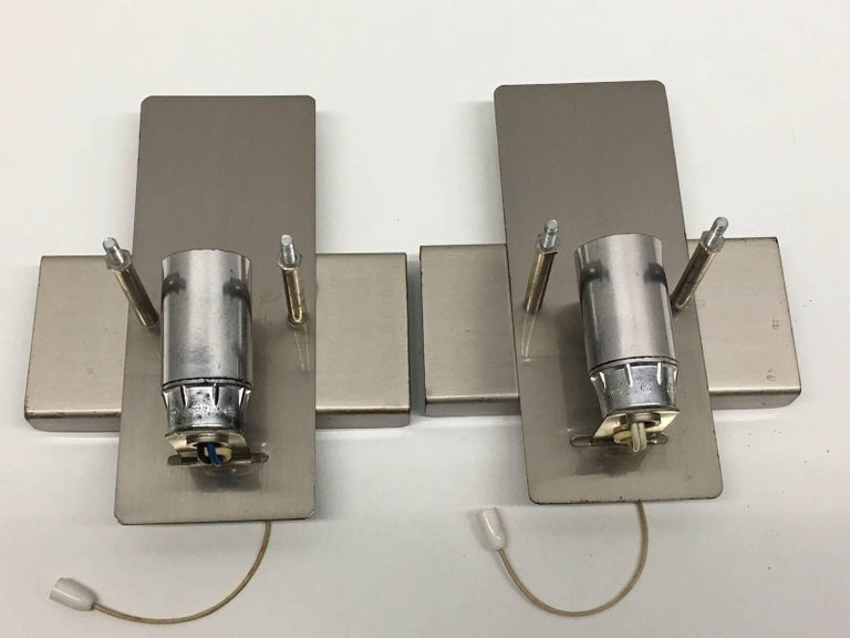 Metal Pair of Rectangular Glass Sconces with Chrome Fixture For Sale
