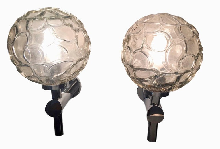 Late 20th Century Pair of Italian Chrome and Organic Structure Glass Ball Sconces For Sale