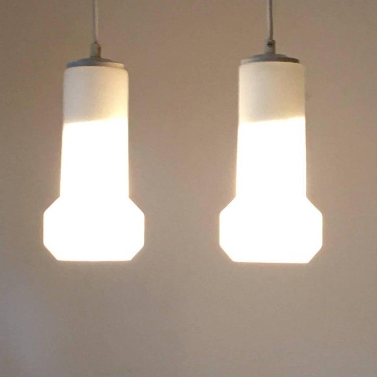 Mid-20th Century Pair of Milk Glass Lamp Pendants by Doria Leuchten, 1960s For Sale
