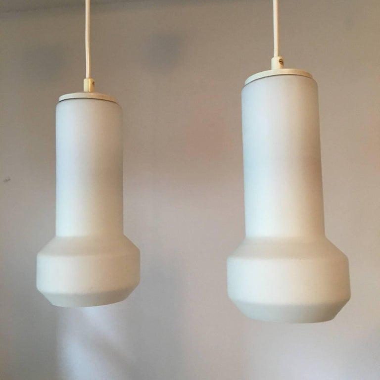 Pair of Milk Glass Lamp Pendants by Doria Leuchten, 1960s For Sale 3