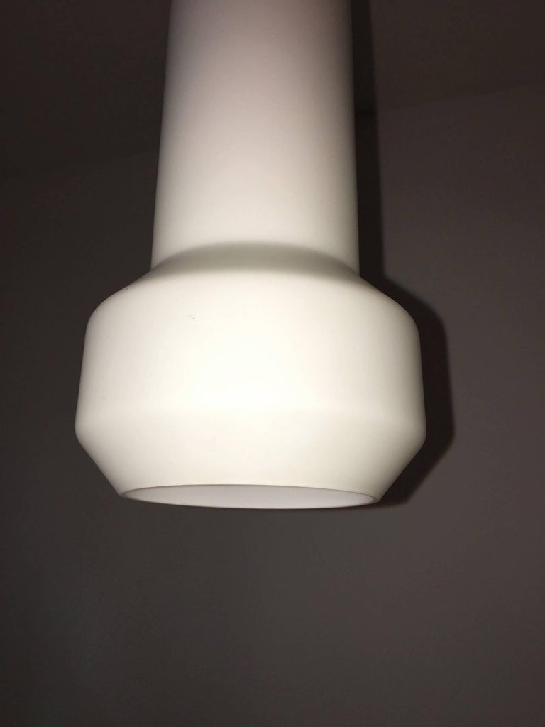 Pair of Milk Glass Lamp Pendants by Doria Leuchten, 1960s In Good Condition For Sale In Frisco, TX