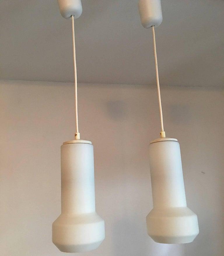 Pair of Milk Glass Lamp Pendants by Doria Leuchten, 1960s For Sale 1