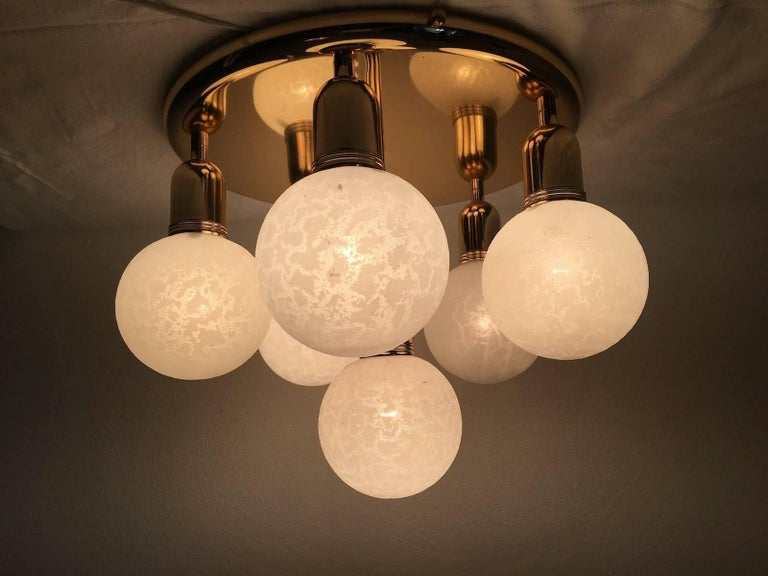 Six Glass Snow Ball and Brass Flush Mount Chandelier For Sale 3