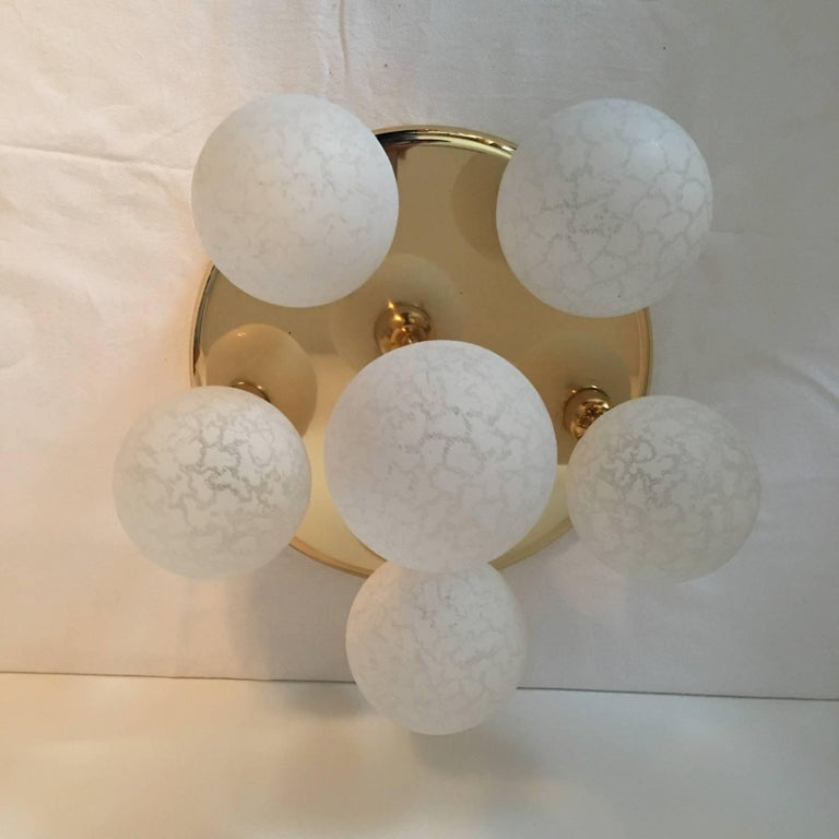 German Six Glass Snow Ball and Brass Flush Mount Chandelier For Sale