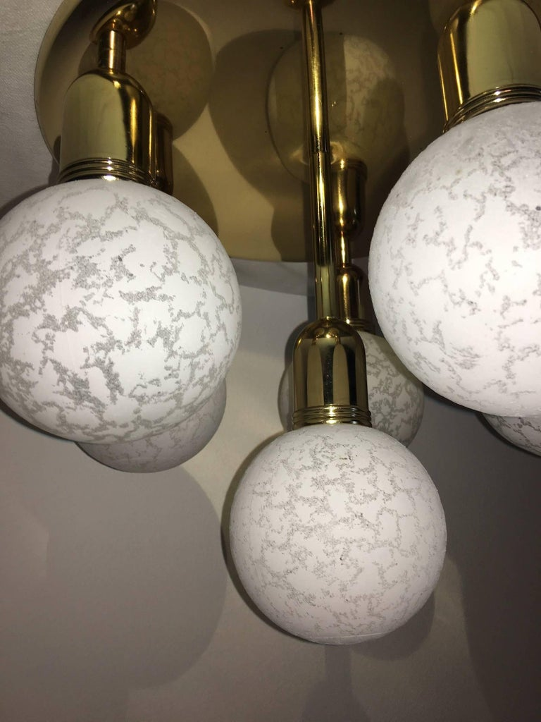 Late 20th Century Six Glass Snow Ball and Brass Flush Mount Chandelier For Sale