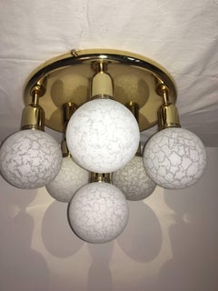 Six Glass Snow Ball and Brass Flush Mount Chandelier