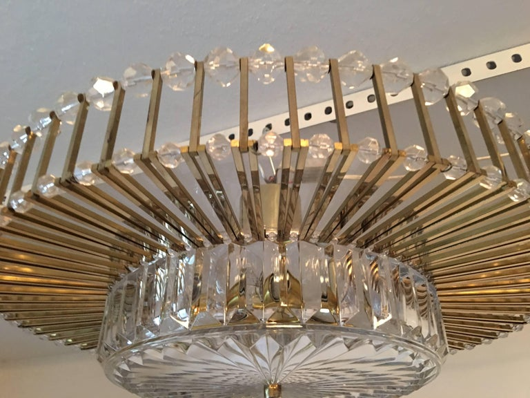 Austrian Crystal Glass Lucite and Gilt Brass Chandelier, Lobmeyr - SPECIAL OFFER For Sale 6