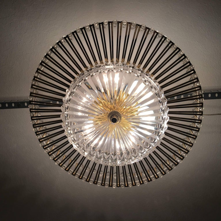 Austrian Crystal Glass Lucite and Gilt Brass Chandelier, Lobmeyr - SPECIAL OFFER For Sale 8