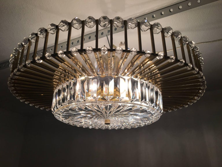 Austrian Crystal Glass Lucite and Gilt Brass Chandelier, Lobmeyr - SPECIAL OFFER For Sale 12